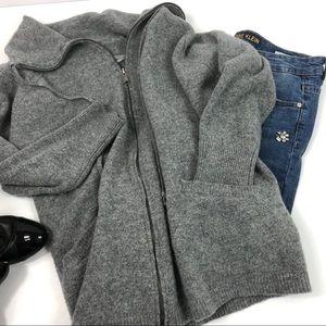 Ellen Tracy Oversized Gray Wool Zipper Cardigan L